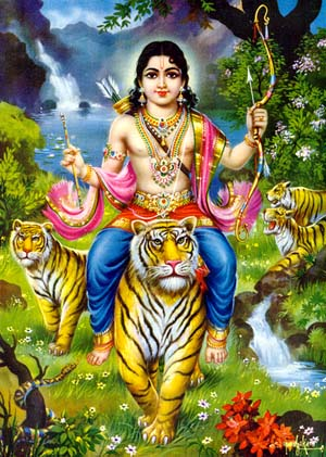 Ayyappa seated on a Tigress bringing the Tiger Milk after annihilating Mahishi